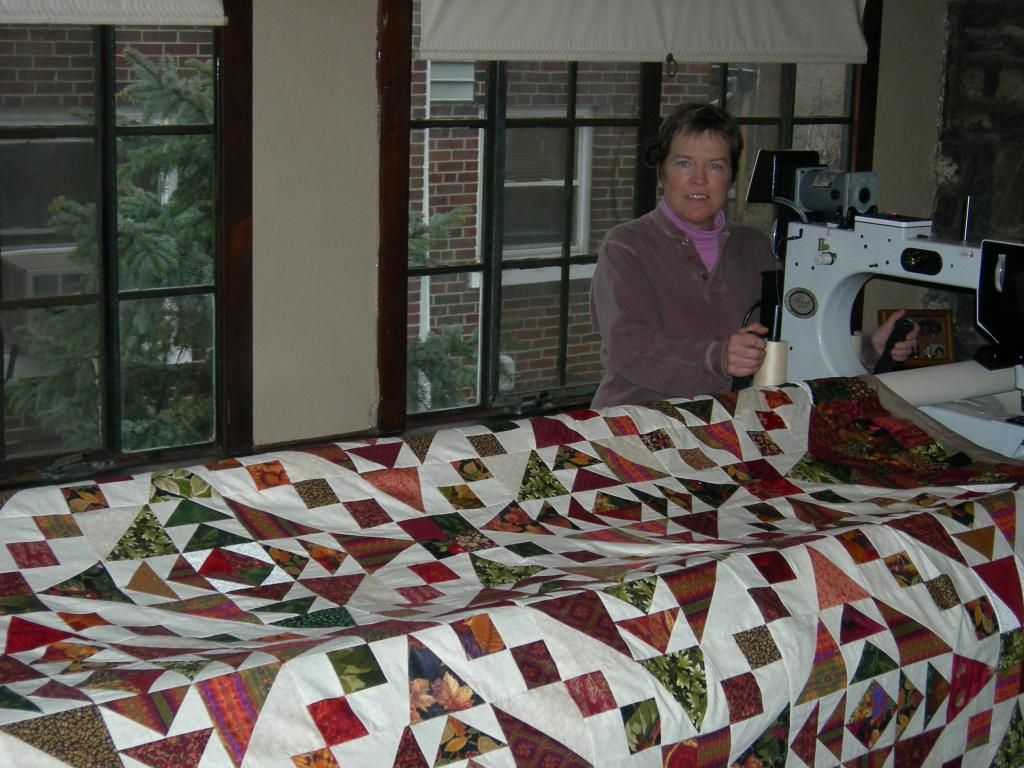 Deb working on quilt